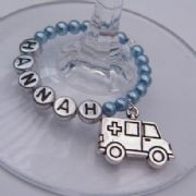 Ambulance Personalised Wine Glass Charm - Full Bead Style
